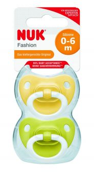 Nuk Fashion Silicon Soother 0-6M - Pack of 2 pcs