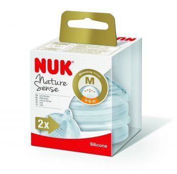 Nuk Nature Sense Silicone Teat, 0-6M Medium 6 Holes - Pack of 2 pcs