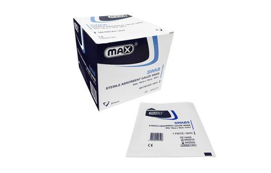 Max Sterile Gauze Swab 8ply, 10cm x 10cm, 100pcs